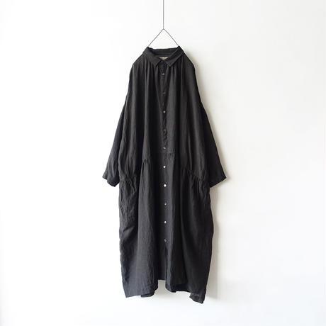 ichiAntiquités 600910 Color Linen Shirt Dress / 2 COLORS : RED・ BLACK