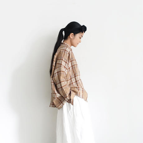 ichiAntiquités 600615 Linen Tartan Shirt  / C : BEIGE
