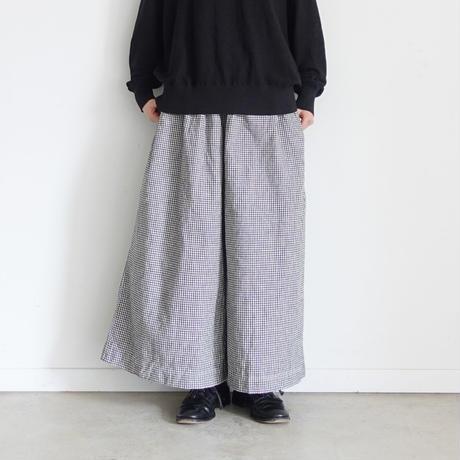 ichi 200333 Linen Cotton Check Pants / A : WHITE GINGHAM