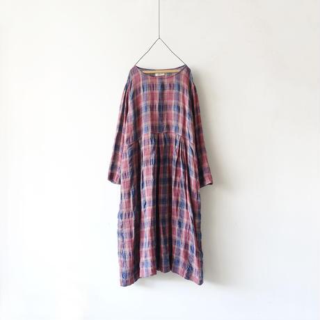 ichiAntiquités 500327 Italy Linen  Check Dress / PINK