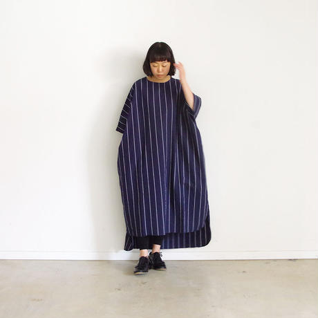 i c h i 181110 C/L Stripe Dress / Navy Stripe