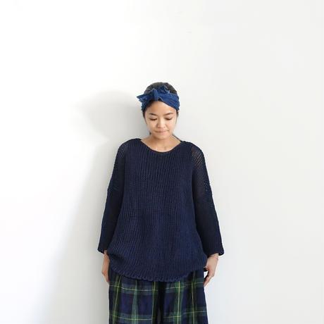 ichiAntiquités 500157 WASHI Knit Pullover / NAVY