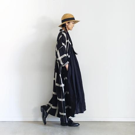 ichiAntiquités 601211 Lattice Linen Check Shirt Dress / C : BLACK