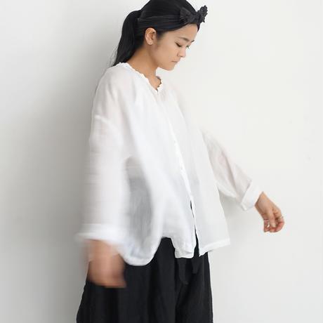 ichiAntiquités 600130 Linen AZUMADAKI Shirt / A : WHITE