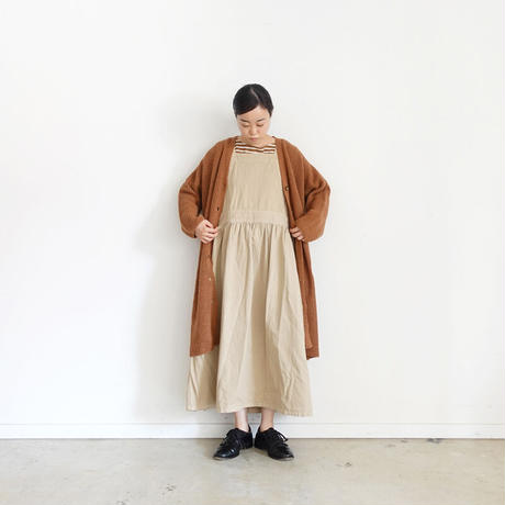 ichi 190940 Apron One Piece / WHITE・BEIGE