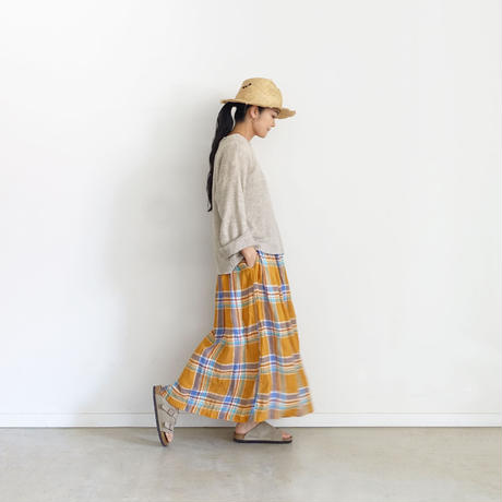 ichiAntiquités 600110 Linen Madras Skirt / ORANGE