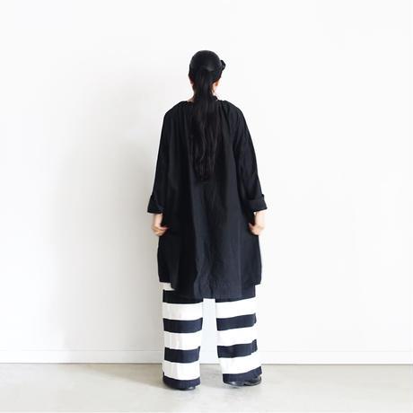 【ONLINE LIMITED】i c h i 210667 Border Easy Pants / A :  White × Black