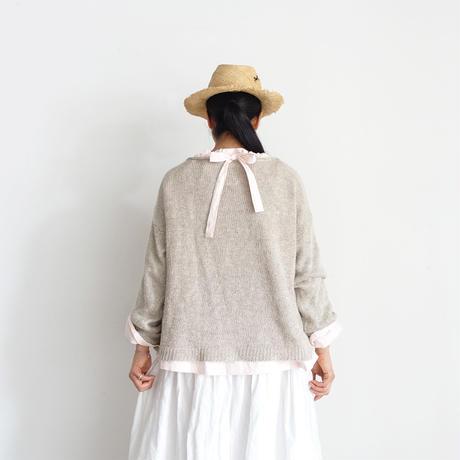 ichiAntiquités 600902 Cotton AZUMADAKI Ribbon Neck Blouse / 2 COLORS : WHITE・PINK