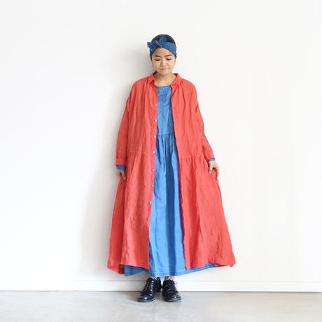 ichiAntiquités 600934 INDIGO Linen Denim Dress / A : LIGHT