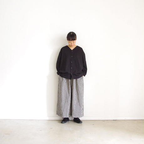 ichi 190426 Cotton Linen Wide Pants / Gingham