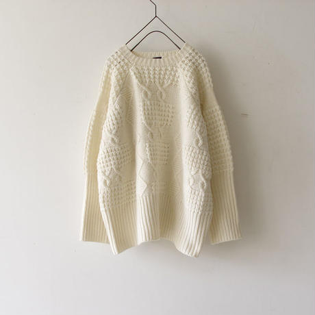 i c h i 180487 Patchwork Knit Crew-neck Pullover / White