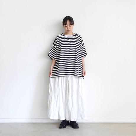 ichi 201157 Wide Sleeve Border T-Shirt / C : WHITE × BLACK