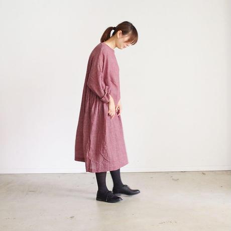 i c h i 180414 Wool Gauze Glen Check Dress / Bordeaux