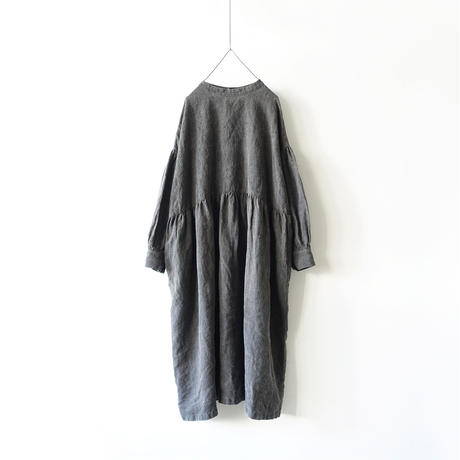 ichiAntiquités 600623 Natural dyed Linen 2way Dress / B : SUMI DARK