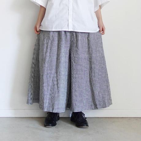 【ONLINE LIMITED】ichi 210564 Linen Gingham Wide Flare Pants / B : BLACK × WHITE GINGHAM