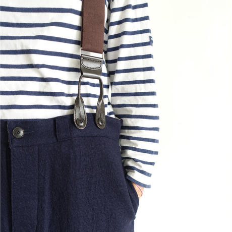 ichiAntiquités 100321 Cotton Wool Pants + Suspenders / NAVY