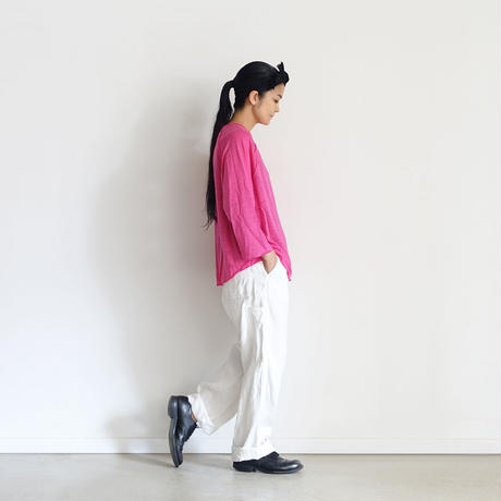 ichiAntiquités 500634  Linen Denim Work Pants / A : WHITE