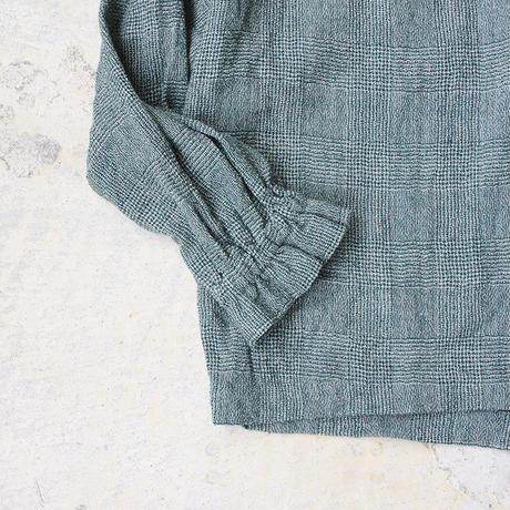i c h i 180413 Wool Gauze Glen Check 2Way Pull Over / Green