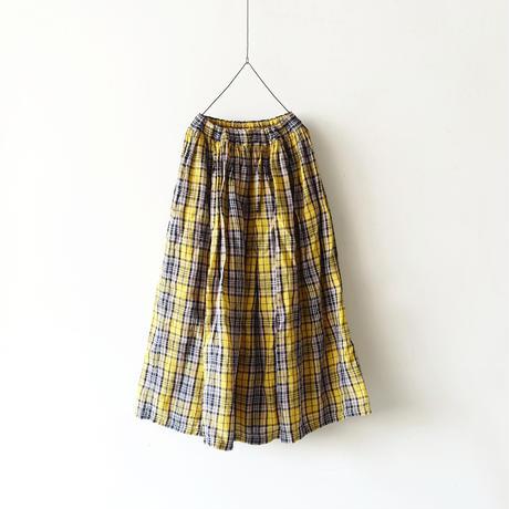 ichiAntiquités 500314 LinenTartan Skirt / YELLOW