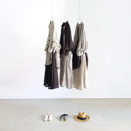 ichiAntiquités 601221  Linen Stripes Dress / C : NATURAL × BLACK