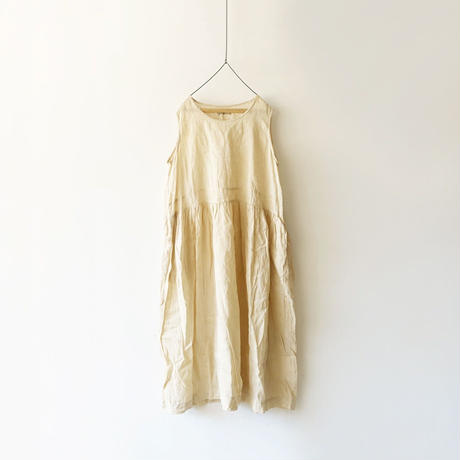 ichiAntiquités 500132 Natural Handdye Linen Dress / PLANTS BEIGE
