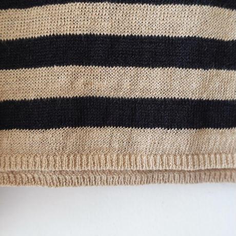 ichi 201253 Linen Border Knit Pullover / 2 COLORS