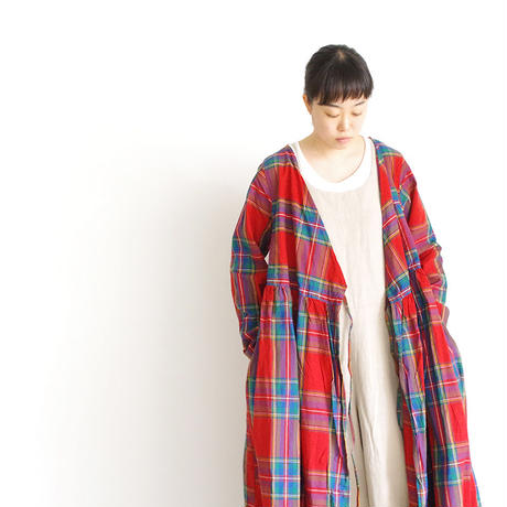 i c h i 181104 Cotton INDIGO Tartan Check Cache Coeur Dress / Red
