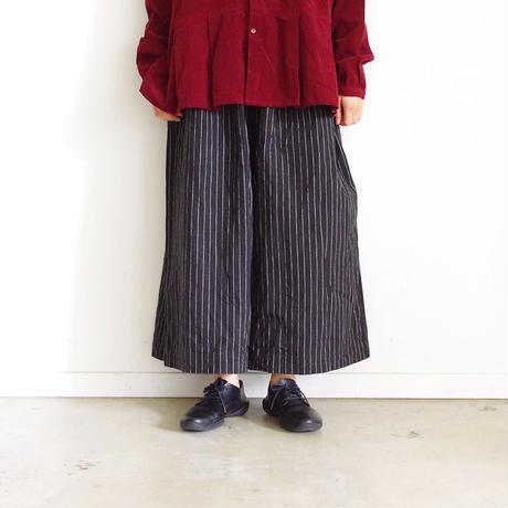 ichi 190426 Cotton Linen Wide Pants / Stripe