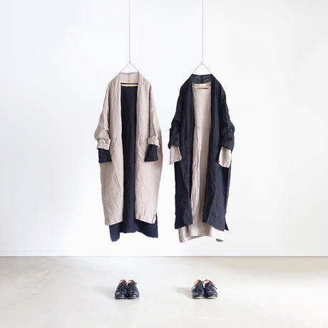 ichiAntiquités 500105 Linen Long Cardigan / GREGE