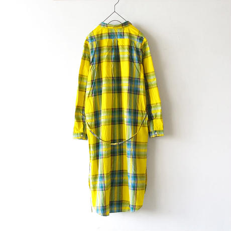 i c h i 181102 Cotton INDIGO Tartan Check Dress / Yellow