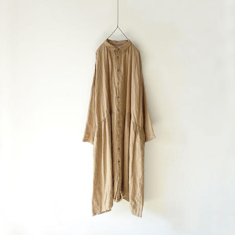 ichiAntiquités 500602 Color Linen Shirt Dress / BEIGE
