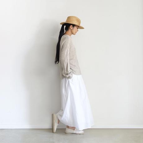 ichiAntiquités  601241  KHADI Cotton Pintuck Flare Skirt / A : WHITE