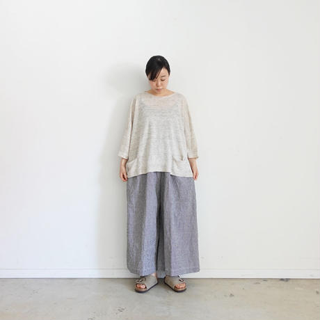 ichi 200333 Linen Cotton Check Pants / WHITE GINGHAM・WHITE CHECK