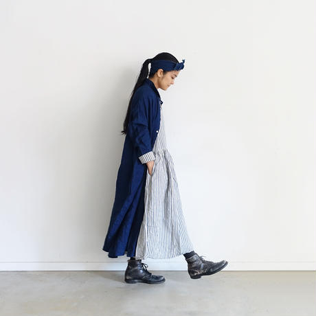 ichiAntiquités 500614 INDIGO Selvage Stripe Dress / NAVY