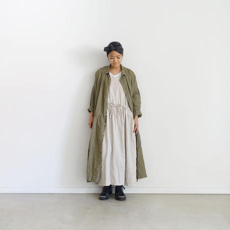 ichiAntiquités 500325 Italy Linen  Shirt Dress / OLIVE