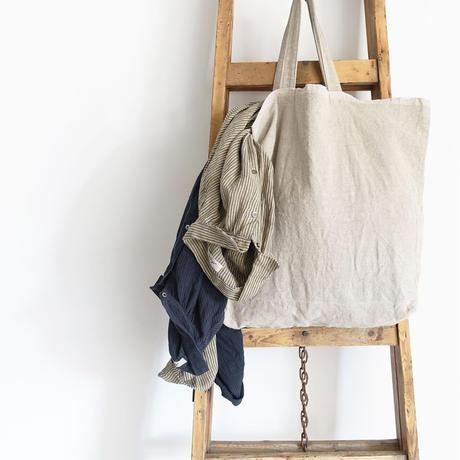 ichiAntiquités 600610 AZUMADAKI Linen Stripes Shirt Dress / C : BEIGE
