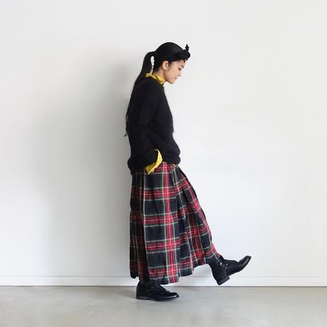 ichiAntiquités 600617 Linen Tartan Skirt / A : BLACK