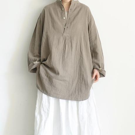 ichi 201001 Double Gauze Pullover Shirt / B : KHAKI BEIGE