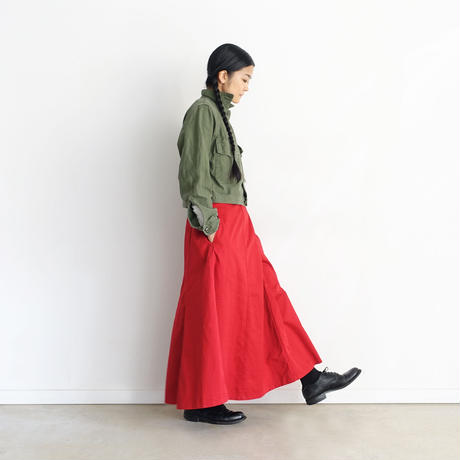 【ONLINE LIMITED】i c h i  200730 Cotton Twill Panel Skirt / A : RED
