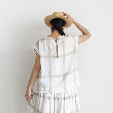 ichiAntiquités 601209 Lattice Linen Check French sleeve Pullover / 3 COLORS