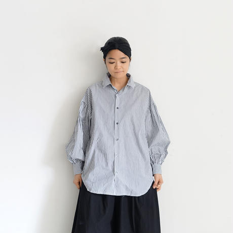 ichiAntiquités 600905 Cotton STRIPE Volume Sleeve Shirt / 2 COLORS : BLACK STRIPE・BLUE STRIPE