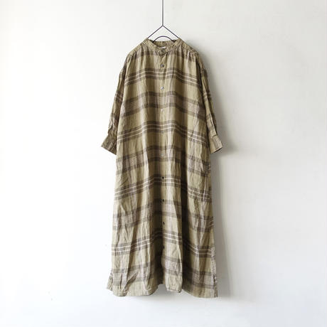 ichi 201221 Linen Check Shirt One Piece / A : OLIVE