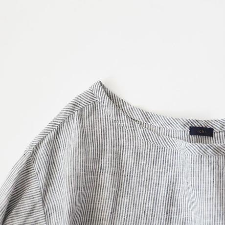 【オンラインストア限定】i c h i 180637 Linen Pullover Blouse / Stripe