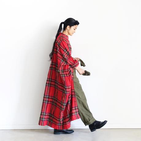 ichiAntiquités  700323 Wool Tartan Over Shirt Dress / A : RED