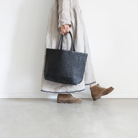 KYUCA KY0304 Soft Leather Mesh Tote / BLACK