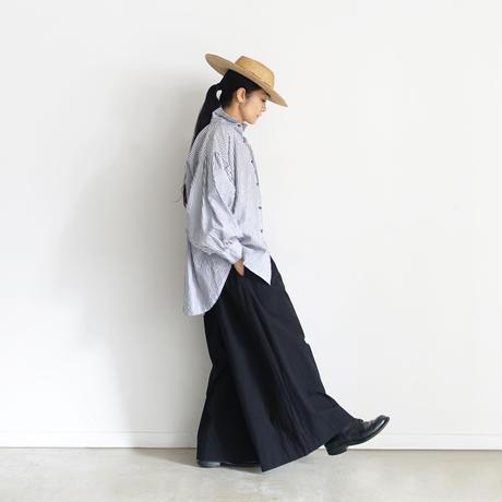 【ONLINE LIMITED】ichiAntiquités 600938 Cotton AZUMADAKI Relax Pants + BAG / D :  BLACK