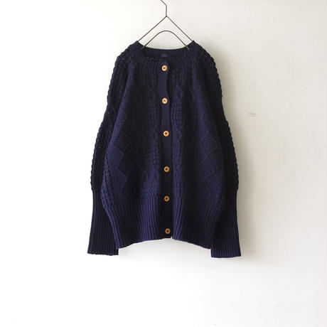 i c h i 180488 Patchwork Knit Cardigan / Navy