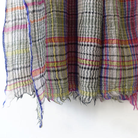 ichiAntiquités 600337 Wool Colorful Check Stole  / A : PINK