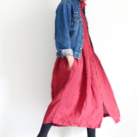 ichiAntiquités 100652 Color Linen Dress / RED