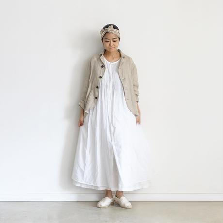 ichiAntiquités  601239  KHADI Cotton Pintuck Flare Shirt Dress / A : WHITE